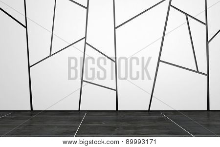Home or Office Interior of Empty Room with White Wall Decorated with Geometric Pattern and Dark Tiled Floor. 3d Rendering.