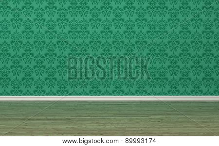Architectural background of an unfurnished room interior with green wallpaper with a vintage style floral arabesque design and hardwood parquet floor. 3d Rendering.