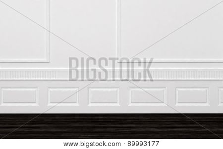 Architectural background of a classic stylish bare unfurnished room with white paneled walls and wainscoting over a dark floor for your furniture placement. 3d Rendering.