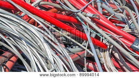 Red  Electrical Wires In The Dump Of Special Material