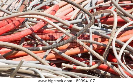 Electrical Wires And Other Lengths Of Copper Wire In The Dump Of Special Material