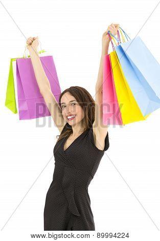 Cheering Shopping Woman