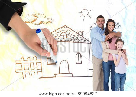 Happy family embracing each other over against crumpled white page