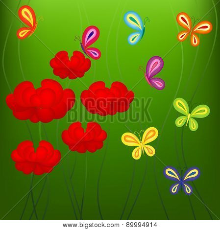 Bright summer pattern with flowers and butterflies