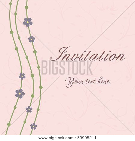 Invitation card with waves and flowers on beige background