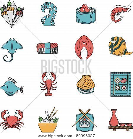 Flat vector icons for seafood menu