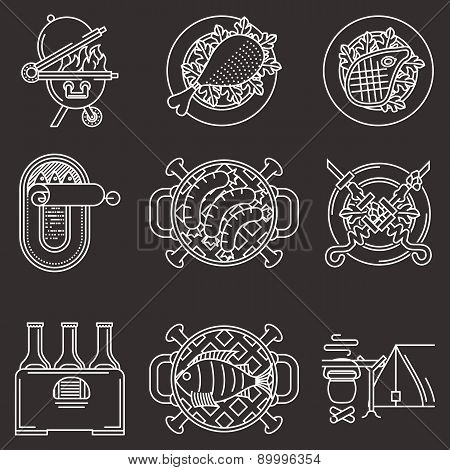 White line vector icons for picnic