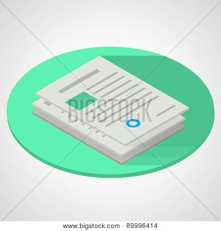Vector isometric flat illustration of documents paper