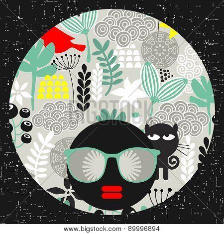 Black head woman in retro sunglasses.