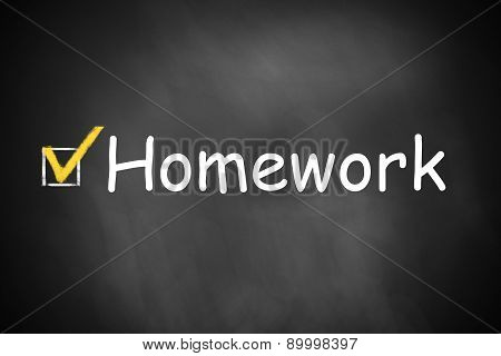 Checkbox Checked Homework On Chalkboard