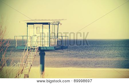 Lifeguard Tower On A Beach.