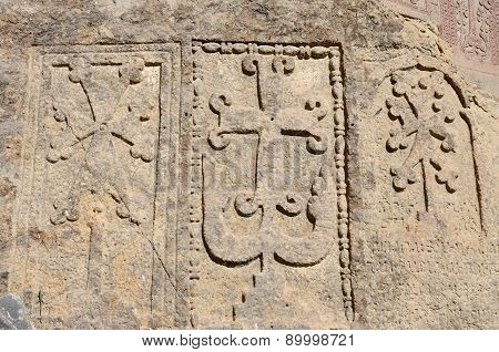 Stone Steles With Khachkars (crosses) And Ancient Armenian Inscriptions, Geghard Monastery,Armenia