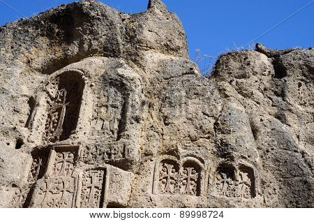 Stone Steles With Crosses (khachkars), Geghard Monastery,ancient Christian Art,armenia,central Asia