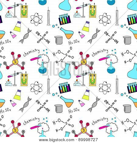 Seamless sketch of science doddle elements