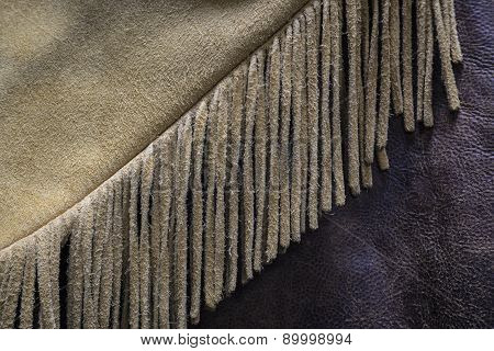 Old West Buckskin Leather Fringe Detail