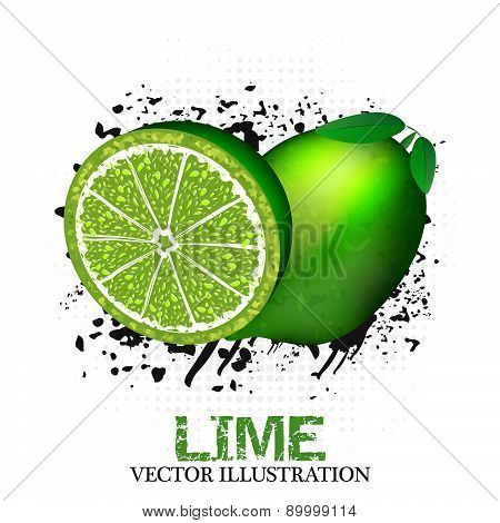 Lime fruit vector illustration with grunge and halftone effect