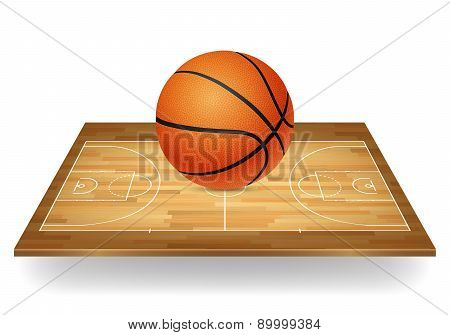 Basketball Icon - Ball On A Wooden Court.