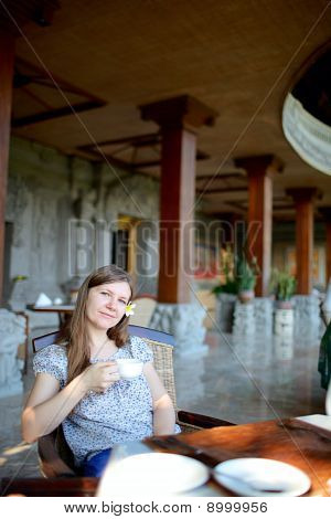Beautiful Woman In Restaurant
