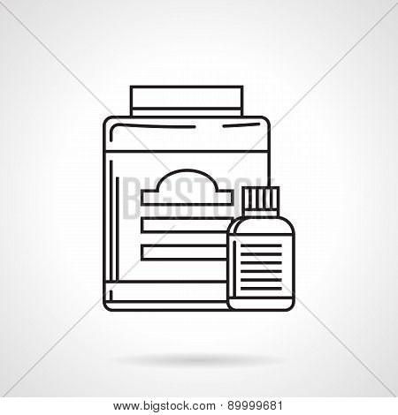 Supplements containers line vector icon