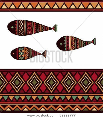 Vector seamless pattern with tribal fish, rhombus, triangles and stripes