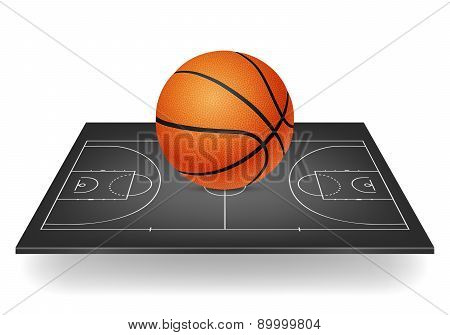 Basketball Icon - Ball On A Black Court. Isolated.