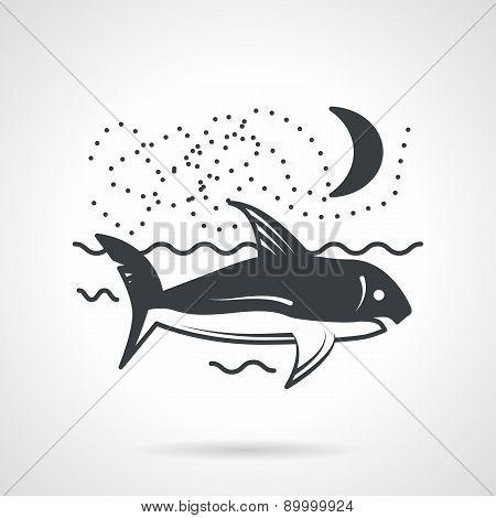 Swimming shark black vector icon