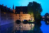 foto of bavaria  - View of the Pegnitz River in Nuremberg at night from Fleisch Bridge - JPG