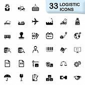 stock photo of logistics  - Logistic vector icons for mobile phone interface and web - JPG