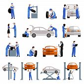 picture of cap gun  - Auto mechanic car service repair and maintenance work icons set isolated vector illustration - JPG
