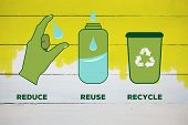 foto of reuse recycle  - Reduce reuse recycle against yellow paint on fence - JPG