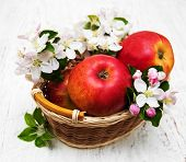 foto of apple blossom  - basket with apples and apple tree blossoms on a wooden table - JPG