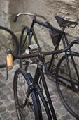 stock photo of flea  - Old vintage bikes in a flea market  - JPG