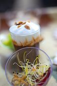 image of crustaceans  - Crustacean mousse and seeds salad in glasses