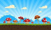 picture of magical-mushroom  - Cartoon game background with mushrooms - JPG