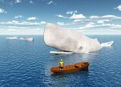 picture of life-boat  - Computer generated 3D illustration with sperm whales and tourist in a boat - JPG