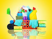 pic of house cleaning  - Cleaning supplies in a basket  - JPG