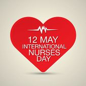 pic of nightingale  - International nurse day concept with illustration of heart with heartbeat - JPG