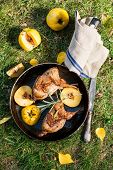 stock photo of guinea fowl  - Roasted quails with quince fried in a pan outdoor top view - JPG