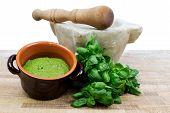 stock photo of pesto sauce  - pesto sauce with fresh basil - JPG