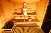 picture of sauna woman  - Spa beauty well being and relax concept - JPG