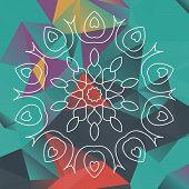 image of karma  - Mandala like design over triangles background - JPG