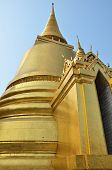 image of emerald  - Wat Phra Kaew Temple of the Emerald Buddha with blue sky Bangkok Asia Thailand - JPG