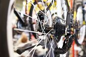 picture of mountain chain  - Carriage with chain rear wheel sports mountain bike closeup