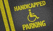 stock photo of handicap  - Handicapped Parking written on the road - JPG