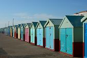 picture of beach hut  - Colourful beach huts on the promenade at Hove in Brighton East Sussex England - JPG