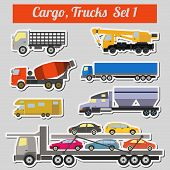stock photo of lorries  - Set of elements cargo transportation - JPG