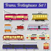 stock photo of tram  - Set of elements trams and trolleybuses for creating your own infographics or maps - JPG