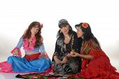 pic of gypsy  - Three gypsy women posing in traditional outfits - JPG