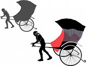 stock photo of rickshaw  - illustration with rickshaw isolated on white background - JPG
