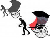 image of rickshaw  - illustration with rickshaw isolated on white background - JPG
